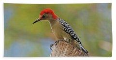 Beach Sheet featuring the digital art 1- Woodpecker by Joseph Keane
