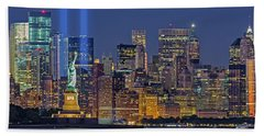 Beach Sheet featuring the photograph World Trade Center Wtc Tribute In Light Memorial II by Susan Candelario