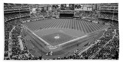 Yankee Stadium Black And White  Beach Towel