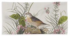 Yellow-winged Sparrow Beach Towel by John James Audubon