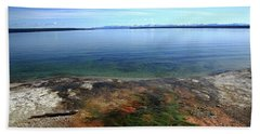 Beach Towel featuring the photograph Yellowstone Lake Colors by Frank Romeo