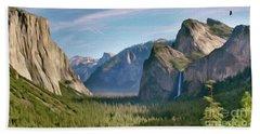 Yosemite Falls Beach Sheet by Walter Colvin