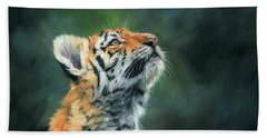 Beach Towel featuring the painting Young Amur Tiger by David Stribbling