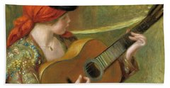 Young Spanish Woman With A Guitar Beach Towel