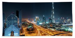 Amazing Night Dubai Downtown Skyline, Dubai, United Arab Emirates Beach Towel