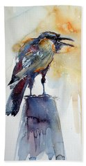 Crow Beach Towel by Kovacs Anna Brigitta