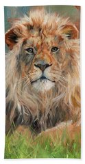 Beach Sheet featuring the painting Lion by David Stribbling