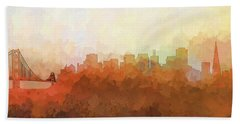 Beach Towel featuring the digital art San Francisco California Skyline by Marlene Watson