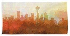 Beach Towel featuring the digital art Seattle Washington Skyline by Marlene Watson