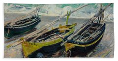 Three Fishing Boats Beach Towel