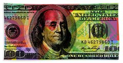 Benjamin Franklin - Full Size $100 Bank Note Beach Sheet
