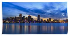 Miami Downtown Skyline Beach Towel by Raul Rodriguez