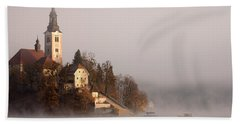 Misty Lake Bled Beach Sheet