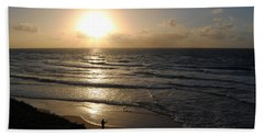 Sunset At Jaffa Beach 5 Beach Sheet by Isam Awad