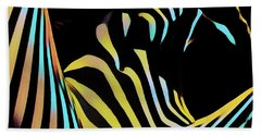 1149s-ak Dramatic Zebra Striped Woman Rendered In Composition Style Beach Towel