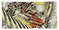 1177s-ak Abstract Nude Her Fingers On Pubis Erotica In The Style Of Kandinsky Beach Towel