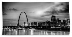 City Of St. Louis Skyline. Image Of St. Louis Downtown With Gate Beach Towel by Alex Grichenko