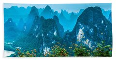 Karst Mountains Landscape Beach Towel