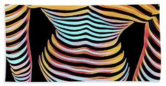 1262s-mak Woman's Strong Shoulders Back Hips Rendered In Composition Style Beach Towel