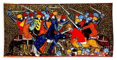 Beach Towel featuring the painting 12th Century Christian Crusaders by Peter Gumaer Ogden