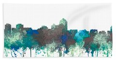 Beach Sheet featuring the digital art Albuquerque New Mexico Skyline by Marlene Watson