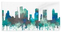 Beach Towel featuring the digital art Houston Texas Skyline by Marlene Watson
