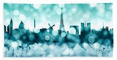 Paris France Skyline Beach Sheet by Michael Tompsett