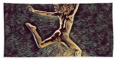 1307s-dancer Leap Fit Black Woman Bare And Free Beach Towel