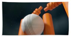 Cricket Ball Hitting Wickets Beach Towel by Allan Swart