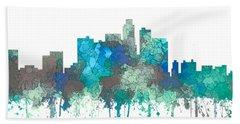 Beach Towel featuring the digital art Los Angeles California Skyline by Marlene Watson