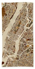 New York City Street Map Beach Towel