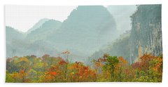 The Colorful Autumn Scenery Beach Towel