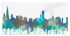 Beach Towel featuring the digital art Chicago Illinois Skyline by Marlene Watson