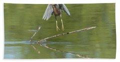 Beach Towel featuring the photograph Green Heron by Tam Ryan