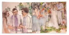 Beach Towel featuring the painting The Wedding Album  by Debbi Saccomanno Chan