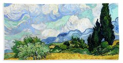 Wheat Field With Cypresses Beach Sheet