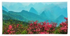 Blossoming Azalea And Mountain Scenery Beach Towel