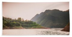 The Mountains And Lake Scenery In Sunset Beach Towel