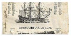 1728 Illustrated British War Ship Beach Towel