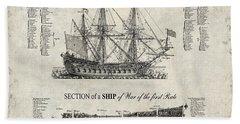 1728 Ship Of War Illustration Beach Towel