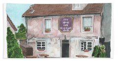Beach Towel featuring the painting 1775 Cafe De La Place by Betsy Hackett