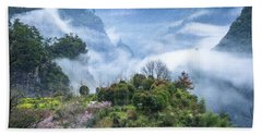 Mountains Scenery In The Mist Beach Towel