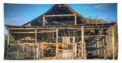 1800s Barn Being Demolished Beach Sheet