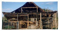 1800s Barn Being Dismantled Beach Sheet