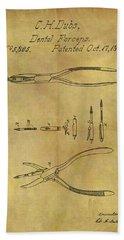 1848 Dental Forceps Patent Beach Towel by Dan Sproul