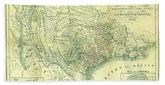 1849 Texas Map Beach Towel