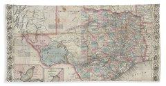 1870 Colton Pocket Map Of Texas Beach Sheet