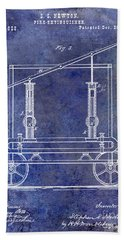 1875 Fire Extinguisher Patent Blue Beach Towel