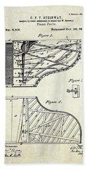 1880 Steinway Piano Forte Patent Art Sheet 1  Beach Towel