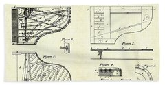 1880 Steinway Piano Forte Patent Art Sheets V2 Beach Towel by Gary Bodnar
